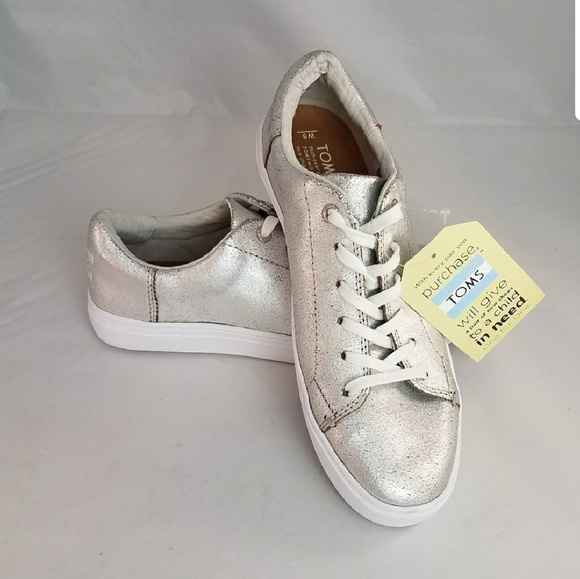 15e39c28c08 TOMS Silver Distressed Sneakers NWT
